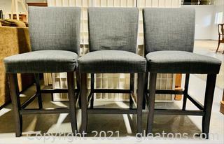 Set of 3 Dark Wood Upholstered Armless Barstools