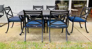 Cast Aluminum Patio Dining Table with 6 Chairs