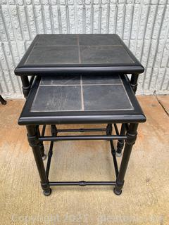 2 Natural Stone/Tiled Top Patio Tables