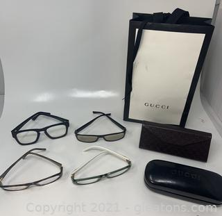 Gucci Glasses (4 Pair) and 2 Eyeglass Cases in Gucci Gift Bag