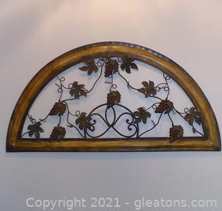 Decorative Metal Grape and Vine Wall Art