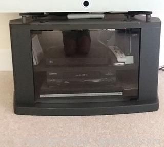 Small Modular TV Stand with Tempered Glass Front