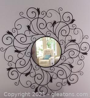 Scrolling Wrought Iron Round Wall Mirror