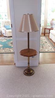 Mid Century Brass Floor Lamp with Table
