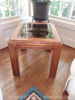 Mid Century Modern Wooden Side Table with Glass Insert