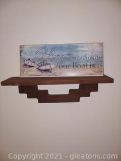 """Southwestern Style Wooden Shelf with """"Home is Where our Boat Is"""" Plaque"""