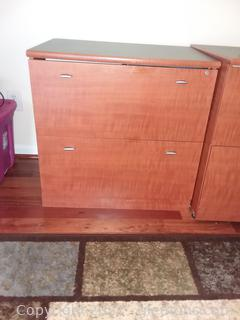 Locking Office 2 Drawer File Cabinet (Matches A and B) Living Dimensions