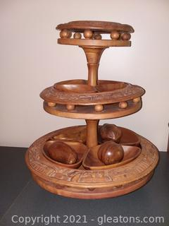 3 Tier Monkey Pod Wood Lazy Susan Serving Tray Centerpiece with 4 Hand Carved Wooden Fruit Pieces