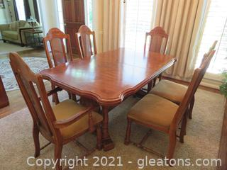 Mid Century Walnut Trestle Table with Six Chairs