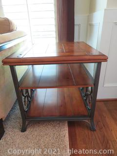 Charming Walnut Iron End Table