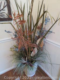 Large Blue Green and Brown Dried Leaves Arrangement