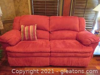 Gorgeous Cranberry Wall Away Recliner Two Seat Sofa