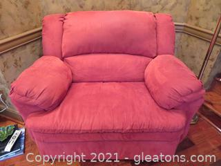 Gorgeous Cranberry Wall Away Recliner Snuggle Seat (Chair and ½)