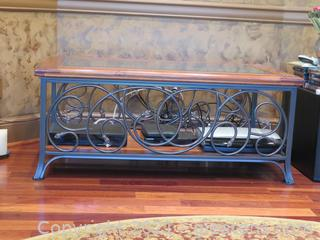 Glasstop Coffee Table Iron and Wood
