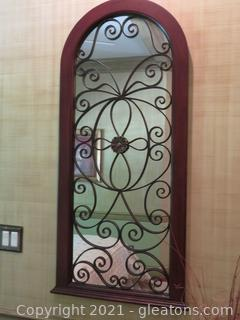 Ornate Wood and Iron Mirror
