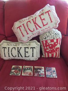 Lot of 4 Movie Treats Coasters and Three Movie Pillows