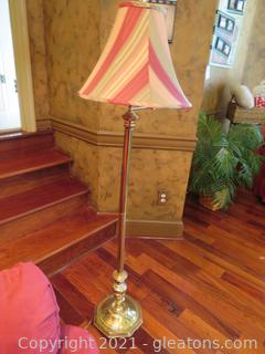 Lovely Brass Floor Lamp with Stripe Lampshade