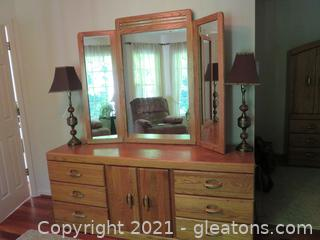 Mid Century Dresser with Vanity Mirror