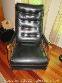 Black Leather Recliner with Wood Arms