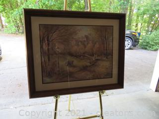 A Stroll in the Park Framed Watercolor