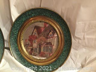 Vintage Pair of English Brass and Foil Wall Plates