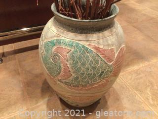 Stoneware Vase in Earthen Colors with Stick Arrangement