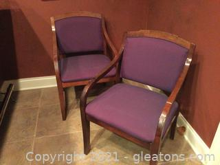 3 Mid-Century Hardwood Accent Chairs.  Only 2 chairs shown.