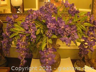 10 Sprigs of Vibrant Purple Silk Wisteria and Larkspurs