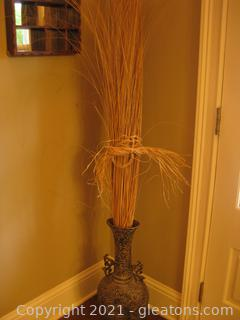 Metal Look Urn-Shaped Ceramic Vase Filled with Tall Straw Arrangement