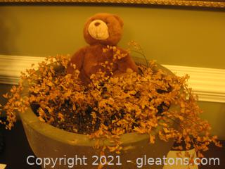 Concrete Planter Includes Dried Plant and Bear