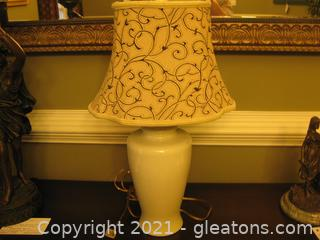 Ivory Ceramic Urn-Style Table Lamp with Shade