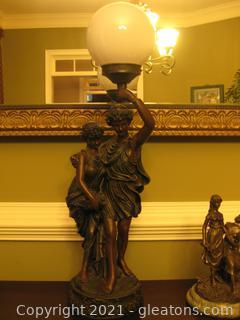 Roman Style Bronze Color Statue Table Lamp