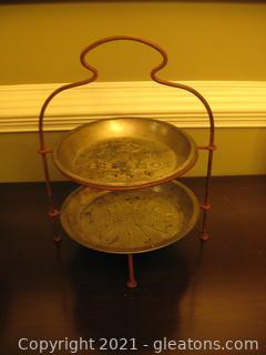 2-Tier Vintage Metal Table Top Stand W/2 Vintage Metal Pie Pans