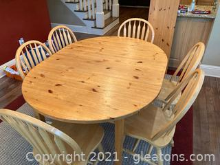 Rustic Pine Oval Kitchen Table W/Center Leaf and 6 Wooden Chairs