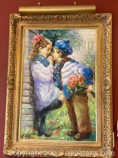 Sweet Little Girl Accepts Flowers from Little Boy Oil Painting, Canvas Art