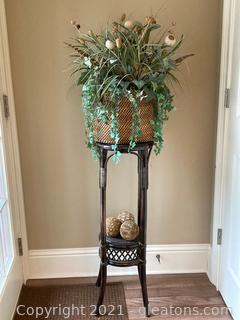Tiered Rattan Plant Stand, Dark Wood, W/Large Basket Floral Arrangement and 3 Orbs