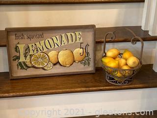 """When Life Gives You Lemons Lot"" Fresh Squeezed Lemonade Sign Wooden and Metal Ornate Basket of Lemons"
