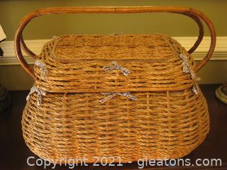 Large, Handled Lined Sewing Basket A