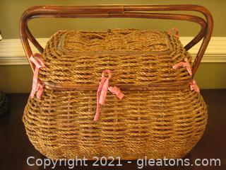 Large, Handled, Lined Sewing Basket B