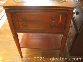 Elegant Vintage Wood Nightstand on Casters