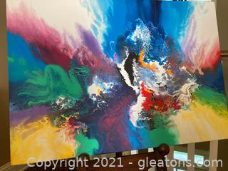 """Magic Tiger"" by Katona, Signed Acrylic Stretched Canvas"