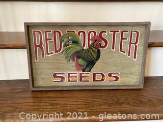 Red Rooster Seeds Heavy Wooden Sign