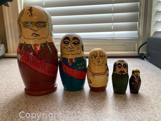 Set of 5 Matryoshka Russian Nesting Dolls , Russian Political Figures