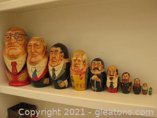 10 Piece Russian Nesting Doll of Past Russian Leaders