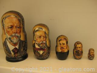 Famous Russian Composers Nesting Dolls (Set of 5 Nesting Dolls)
