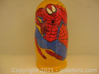"""7"""" H Spider Man Hand Painted on Wood Russian Nesting Stack Doll Set"""