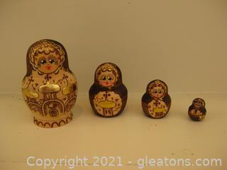 Matryoshka Russian Nesting Dolls Wood Burnt, Gold Foil Beautiful (4 Piece Set)