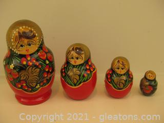Beautiful Hand Painted Matryoshka Russian Nesting Dolls (4 Piece Set)