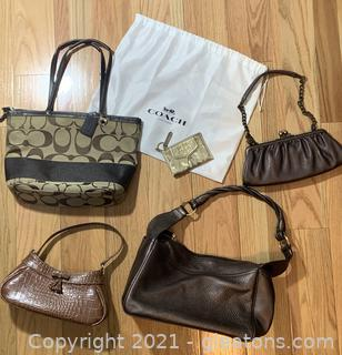 5 Gold and Brown Purses