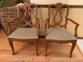 Very Nice Upholstered Dining Arm Chairs (Lot of 2)